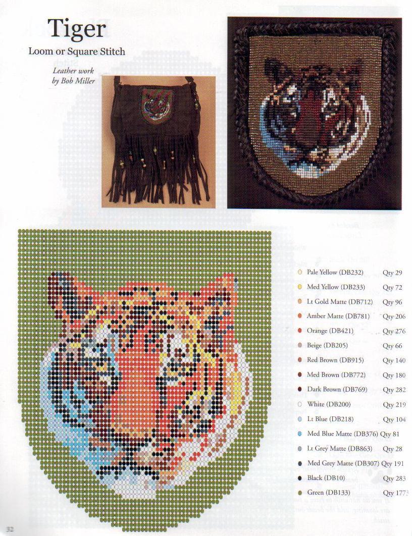 Объемный тигр из бисера схемы Красочный бисер.